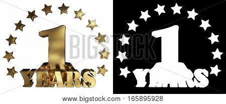Golden digit one and the word of the year decorated with stars. 3D illustration