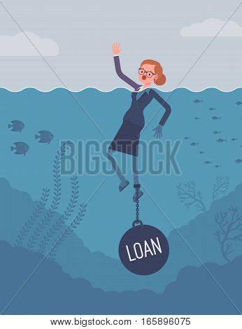 Businesswoman drowning chained with a weight Loan, having propblem commercial or customer loan, delinquent debt, seeking for refinance. Cartoon flat-style concept illustration