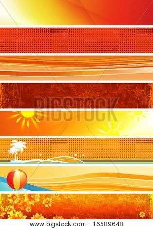 eight abstract & summer yellow banners