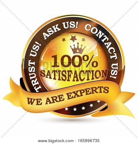 We are experts. Trust us, ask us, contact us! - shiny business / consultancy icon / label