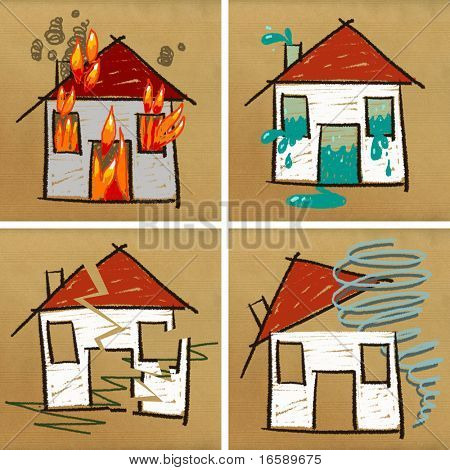 four hand drawn houses on brown paper - disasters