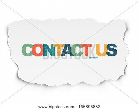 Finance concept: Painted multicolor text Contact us on Torn Paper background