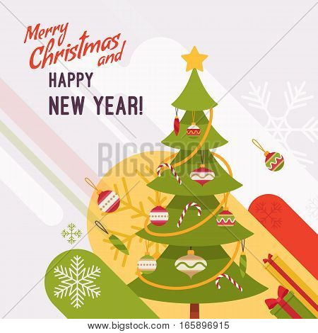 New Year and Christmas card with copyspace for texting. White background, green fur tree decorated with glass baubles and candy canes. Cartoon vector flat-style graphic template