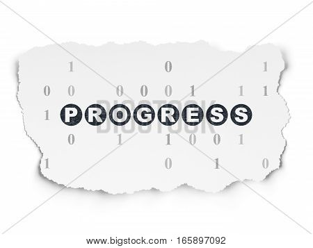 Finance concept: Painted black text Progress on Torn Paper background with  Binary Code