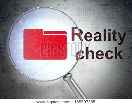 Finance concept: magnifying optical glass with Folder icon and Reality Check word on digital background, 3D rendering