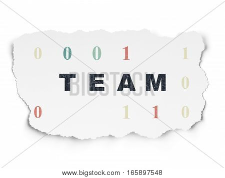 Business concept: Painted black text Team on Torn Paper background with  Binary Code
