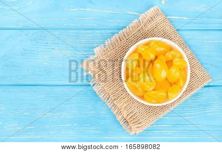Dried Yellow Kumquat In Bowl