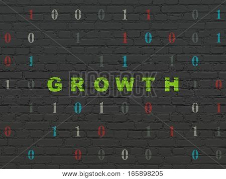 Business concept: Painted green text Growth on Black Brick wall background with Binary Code