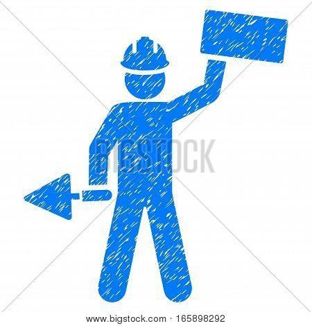 Builder With Brick grainy textured icon for overlay watermark stamps. Flat symbol with dirty texture. Dotted vector blue ink rubber seal stamp with grunge design on a white background.