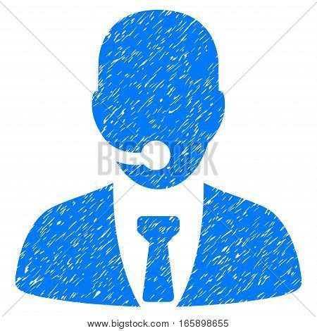 Call Center Manager grainy textured icon for overlay watermark stamps. Flat symbol with dirty texture. Dotted vector blue ink rubber seal stamp with grunge design on a white background.