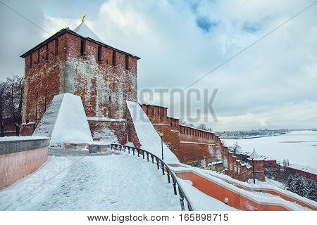 Nizhny Novgorod. View of the Nizhny Novgorod Kremlin St. George Tower and river Volga