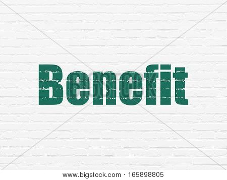 Business concept: Painted green text Benefit on White Brick wall background