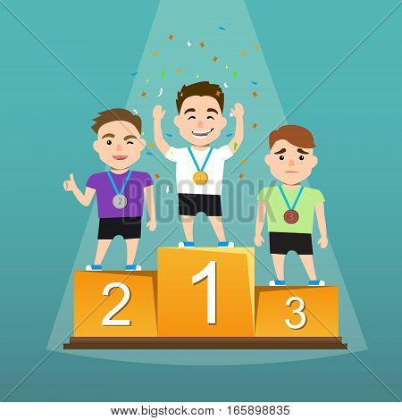 Awards ceremony. Three athletes with medals on a pedestal. Winners podium. the emotions of the winners. Vector illustration of a flat design