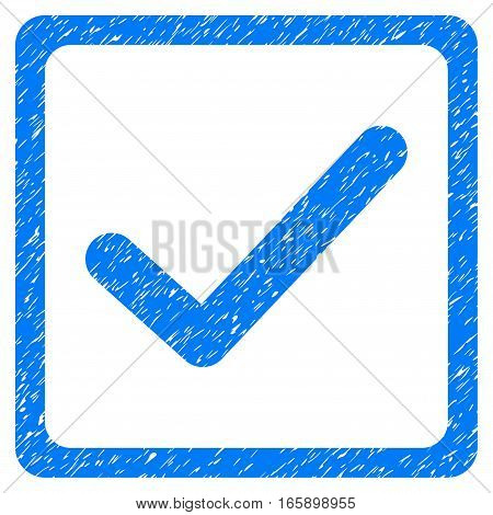 Checkbox grainy textured icon for overlay watermark stamps. Flat symbol with dirty texture. Dotted vector blue ink rubber seal stamp with grunge design on a white background.