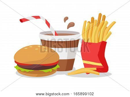Hamburger, fries in red bag, soda or cola with a stick. Unhealthy food conceptual banner. Fresh cooked food in cartoon style. Junk nutrition food isolated on white. Vector design in flat style
