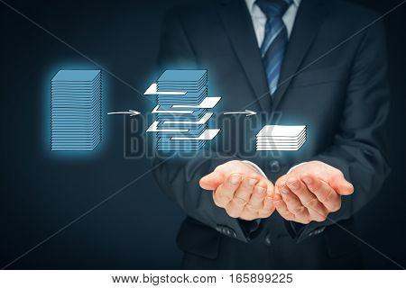 Data mining process and big data analysis issue concept. Analyst give you structured and relevant data.
