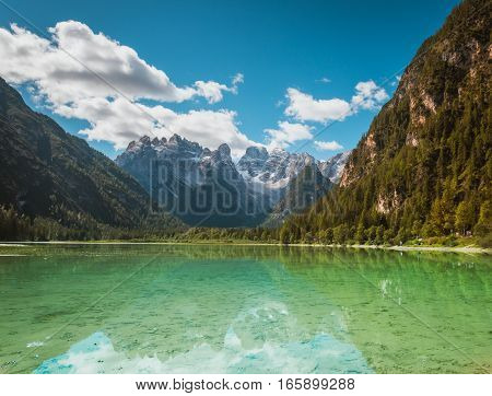 Beautiful mountain lake Landro in Dolomites Alps, Italy