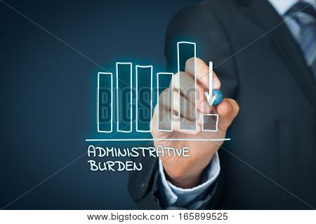 Administrative burden reduction concept. Businessman draw graph with administrative burden reduction.