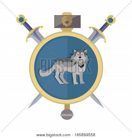 Grey wolf in gold circle. Isolated avatar icon with swords. Wolf with showing fangs. Stylized fantasy character. War concept. Part of series of game objects in flat design. Vector illustration.