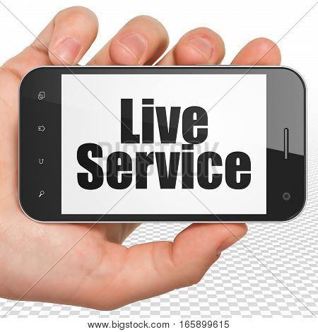 Business concept: Hand Holding Smartphone with black text Live Service on display, 3D rendering
