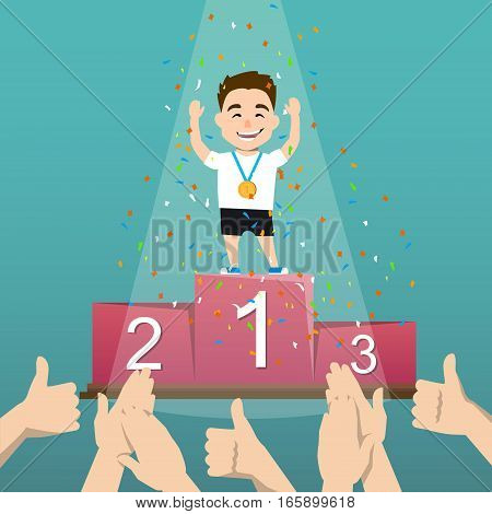 Awards ceremony. Athlete with medal on a pedestal. Winners podium. the emotions of the winners. Vector illustration of a flat design