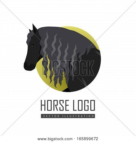 Black draft horse with curly mane vector logo. Flat design. Domestic animal. Country inhabitants concept. For farming, animal husbandry, horse sport illustrating. Agricultural species. Isolated on white