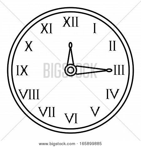Wall clock icon. Outline illustration of wall clock vector icon for web