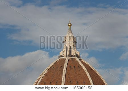 Italy Florence - November 06 2016: view of the Dome's fragment of the Florence Cathedral on November 06 2015 in Florence Italy.