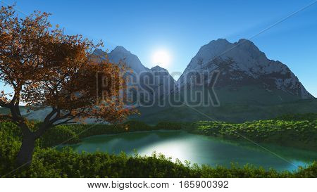 3d illustration Idyllic summer landscape with clear mountain lake