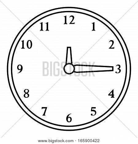 Round wall clock icon. Outline illustration of round wall clock vector icon for web