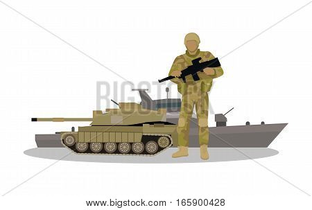 Different types of armed forces. Soldier in ammunition with machine gun, tank, and warship flat vector illustrations isolated on white background. For warfare concepts, military service contract ad