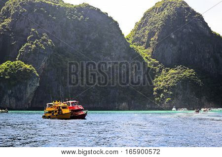Two motor boats in tropical sea, Thailand