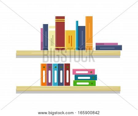 Shelves with colored books and folders in row. Colored folders with documents on shelves. Books in row. Furniture element for office and home interior. Isolated object on white background.