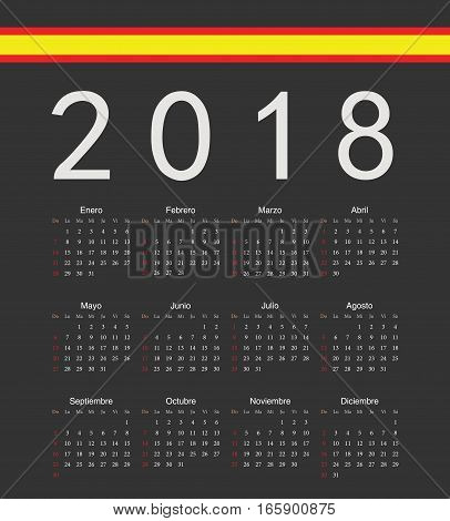 Square Black Spainish 2018 Year Vector Calendar