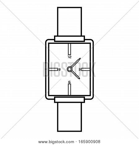 Square wristwatch icon. Outline illustration of square wristwatch vector icon for web