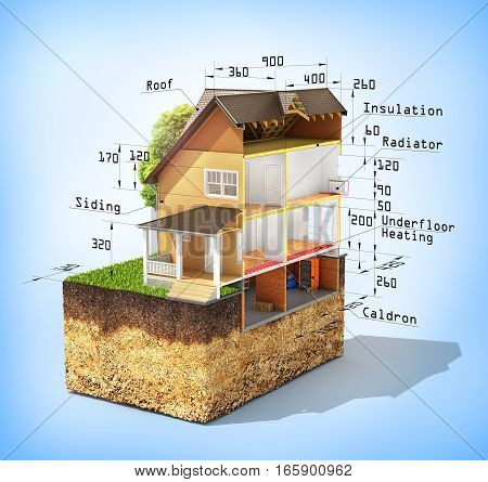 Concept of design. Sliced house with isolated layers of heating on the piece of soil. 3d illustration