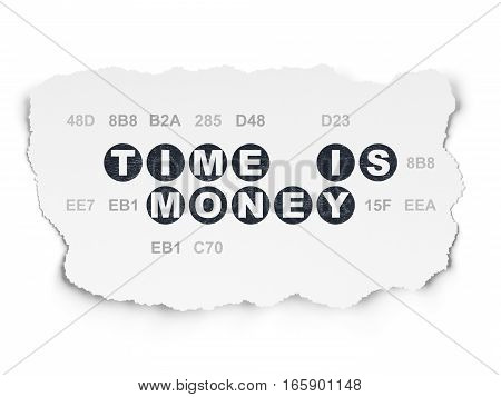 Time concept: Painted black text Time is Money on Torn Paper background with  Hexadecimal Code