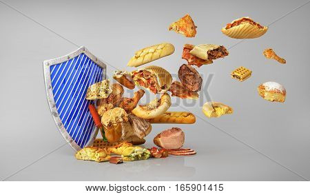 Concept of healthy food. Attack of unhealthy food. Shield protect us unhealthy food. 3d illustration