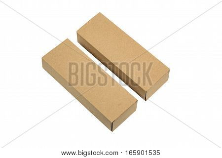 Two Package Brown Cardboard Box For Long Items. Mockup, Isolated