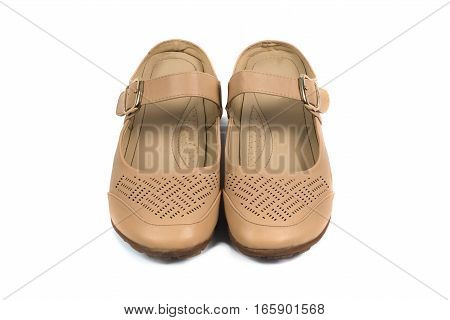 Beige Suede Sandal With Belts Women Shoes, Isolated On White Background.