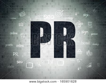 Marketing concept: Painted black text PR on Digital Data Paper background with  Hand Drawn Marketing Icons