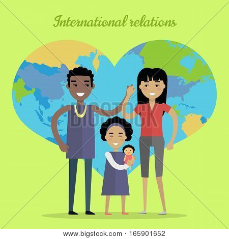 International relations vector concept. Flat design. Interracial marriages. African man, asian woman,  girl standing and holding hands on NAME background with world map in shape of heart