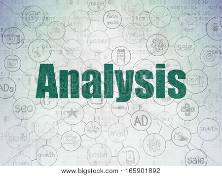 Marketing concept: Painted green text Analysis on Digital Data Paper background with  Scheme Of Hand Drawn Marketing Icons