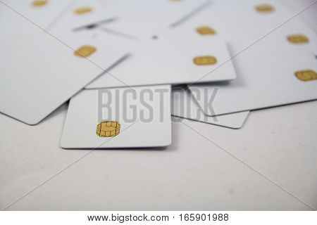 new blank of chip cards on white background