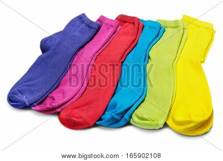 colorful socks isolated on white background assorted, textile