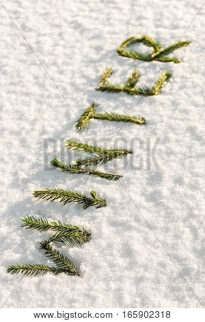 Winter word composed of fir branches on the white snow. holiday decorations