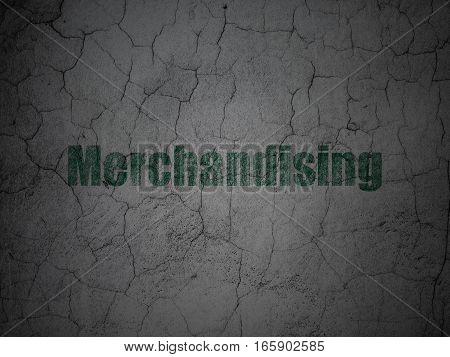 Advertising concept: Green Merchandising on grunge textured concrete wall background