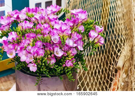 flower bouquet of pink and white alstroemeria holiday panoramic background and rope net