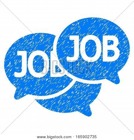 Labor Market grainy textured icon for overlay watermark stamps. Flat symbol with dust texture. Dotted vector blue ink rubber seal stamp with grunge design on a white background.