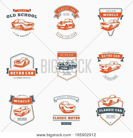 Set Of Classic Car Logo, Emblems, Badges. Service Car Repair, Car Restoration And Car Club Design El